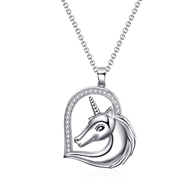 43c8bb2d9 WINNICACA Unicorn Necklace Sterling Silver Heart Pendant Necklaces for Women  Girls Gifts Jewelry