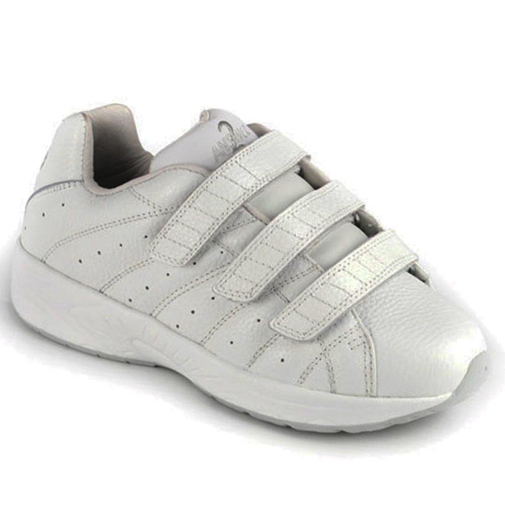 Apis Answer2 558-3 Men's Therapeutic Extra Depth Shoe Leather Velcro 11.5 X-Wide (4E) White/Silver Velcro US Men|White and Silver