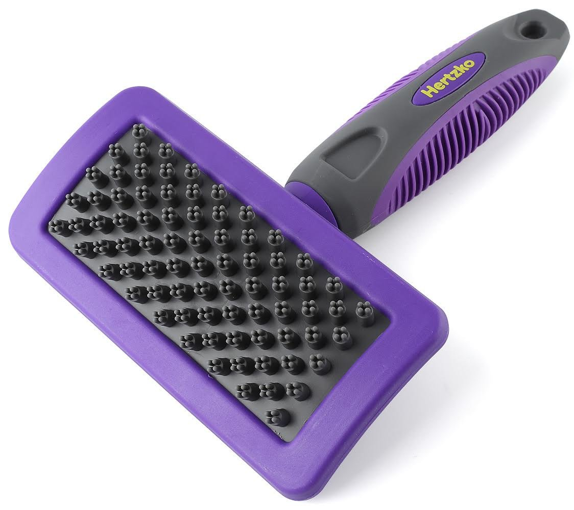 Hertzko Pet Bath Massage Brush by Great Grooming Tool for Shampooing and Massaging Dogs and Cats with Short or Long Hair - Soft Rubber Bristles Gently Removes Loose & Shed Fur from your Pet's Coat