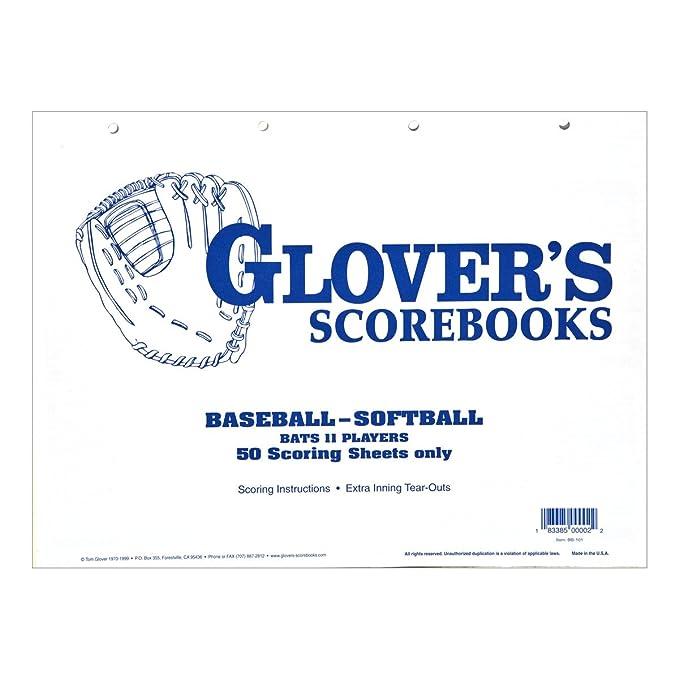 Amazon.com: Glovers scorebooks Béisbol/Sóftbol 50 hojas de ...