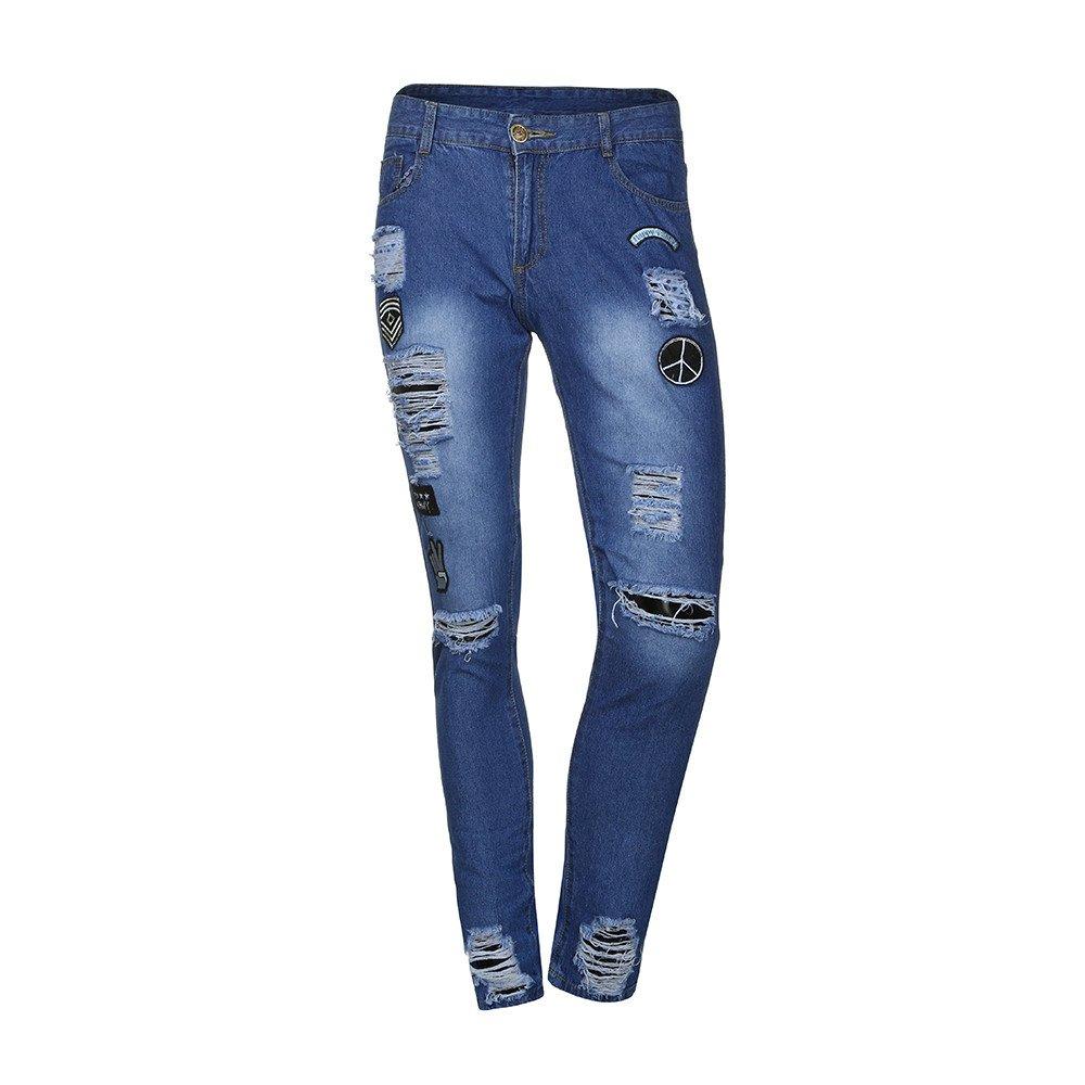TnaIolr Men Jeans Slim Biker Zipper Denim Skinny Frayed Distressed Rip Trousers