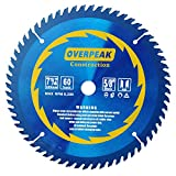 Overpeak 7-1/4 inch 60 Tooth ATB 5/8' Arbor Fine Finishing Precision Framing Saw Blade Thin Kerf and Quietly Running