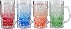 Lily's Home Double Wall Gel-Filled Acrylic Freezer Beer Glasses, Great for Enjoying Brews at BBQs and Parties, Clear with Assorted Color Bases (16 oz. Each, Set of 4) - Mug Shape