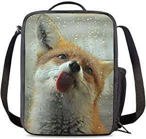 PrelerDIY Funny 3D Fox Insulated Lunch Bag Cooler Thermal Lunch Boxes Snack Bag Food Container for School Beach Picnic