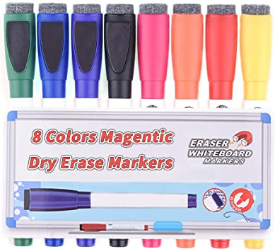 Low Odor White Board Markers with Erasers 8 Pack Magnetic Dry Erase Markers