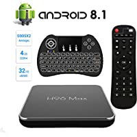 【Android 8.1 ♥ 4GB + 32GB】 H96 MAX 4G + 32G Amlogic S905 X2 Quad Core Arm Cortex A53 Ultra HD Smart TV Box, Soporte 2.4G / 5.8G Dual WiFi /4k/USB3.0 / Teclado retroiluminado inalámbrico