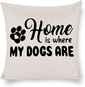 BYRON HOYLE Home is Where My Dogs are Cushion Cover,Dog Paw Throw Pillow Cover,Rustic Linen Decorative Lumbar Pillowcase for Chair Room Sofa car,Home Decor,Housewarming Gift 4545cm