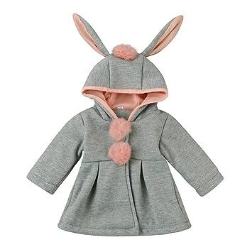 Children Infant Kids Girls Venonat Rabbit Ears Hooded Warm Coat Jacket Outerwear