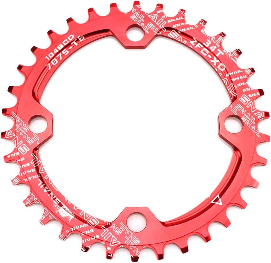 CYSKY Plato Ancho Estrecho 32T 34T 36T 38T 104 BCD Plato Individual con Velocidad 9 10 11 para Bicicleta de Carretera Bicicleta de montaña BMX MTB (Rojo)
