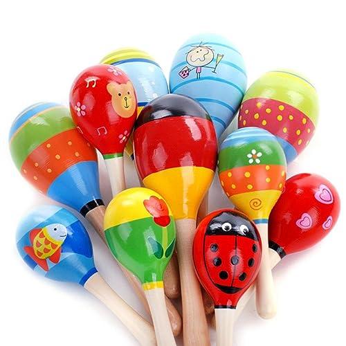 Momola Mini boule en bois enfants jouets percussion instruments de musique marteau de sable (23cmX6cmX6cm), la couleur magnifique augmentent le bébé sensible aux couleurs, développent et améliorent