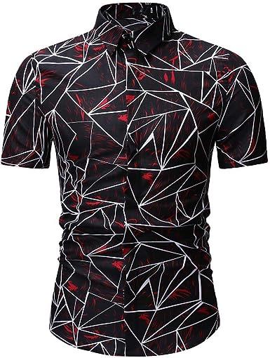 Internet-Camisa de Manga Corta Estampada para Hombre.(Azul Oscuro/Rojo M-3XL)