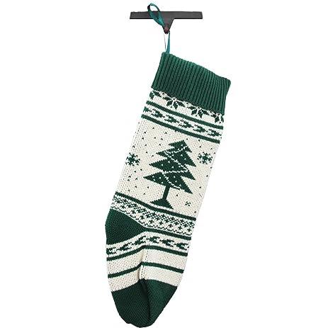 Amazon.com: Christmas Stocking Fair Isle Knit Forest Green Tree ...