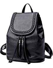Women Small Pu Leather Backpack Anti-Theft Purse Lightweight Little Bag Daypacks with Tassel for Teen Girls Mini Size 10L Black