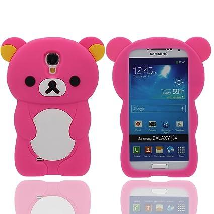 Funda Samsung Galaxy S4 (Rosa caliente) , Animales Linda Pequeño Oso Apariencia Suave Silicona Gel / Agarre Cómodo Ajuste Perfecto Carcasa Case para ...