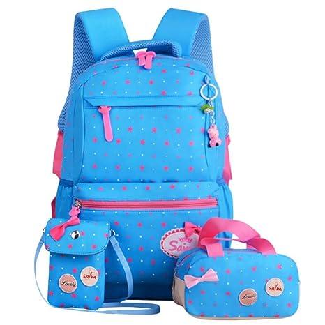 Mochila escolar ligera para niños Juego de mochilas para niñas para adolescentes 3 en 1 Impresión linda de estrellas de Bowknot Bolso para computadora ...