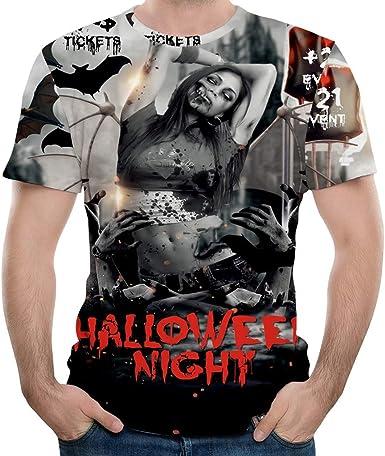 Halloween está ahí. Camiseta de Cuello Redondo de Manga Corta para Hombre de Horror, Estampado 3D: Amazon.es: Ropa y accesorios