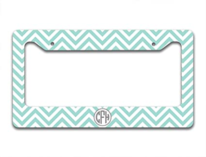 Amazon.com: Monogrammed Chevron license plate frame or cover – Light ...