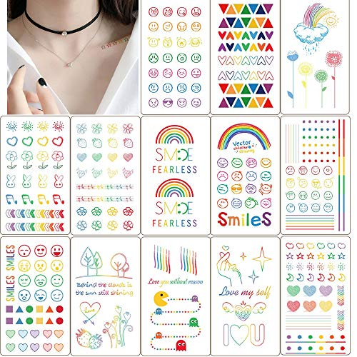 Ooopsi 13 Sheets Temporary Tattoos Body Sticker for Adults Kids Women Men - Fake Colorful Tattoos Body Art Sticker Hand Neck Wrist Cover Up Set