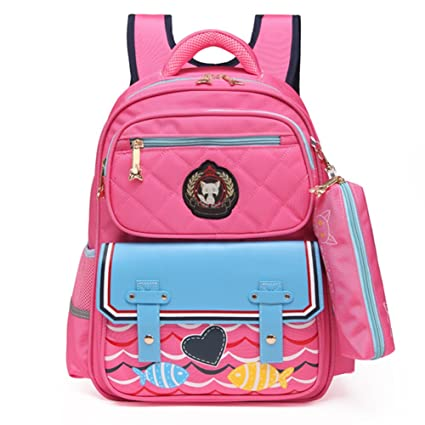 c8c7af01bb60 Fox World Kids School Bags Backpack for Girls with Pencil Case, Stylish and  Waterproof Book Bags for Elementary School (Pink)