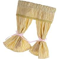 MagiDeal Handmade High Quality Lovely Style Satin Silk Long Yellow Curtain for 1/12 Dollhouse