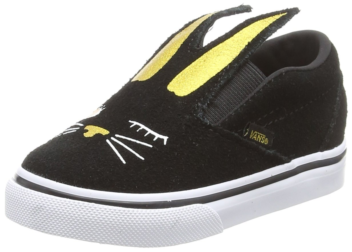 Vans Toddler Slip-on Bunny Shoes B0721V4DWV 8 M US Toddler|Black/Gold