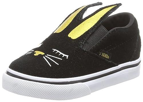 Vans Slip-On Bunny, Zapatillas para Niñas, Negro (Black/Gold Zx1), 26.5 EU