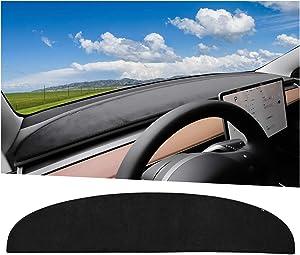 Model Y Accessories Dashboard Cover Compatible for Tesla Model Y Suede Dash Cover Compatible with Tesla Model 3 (Black)