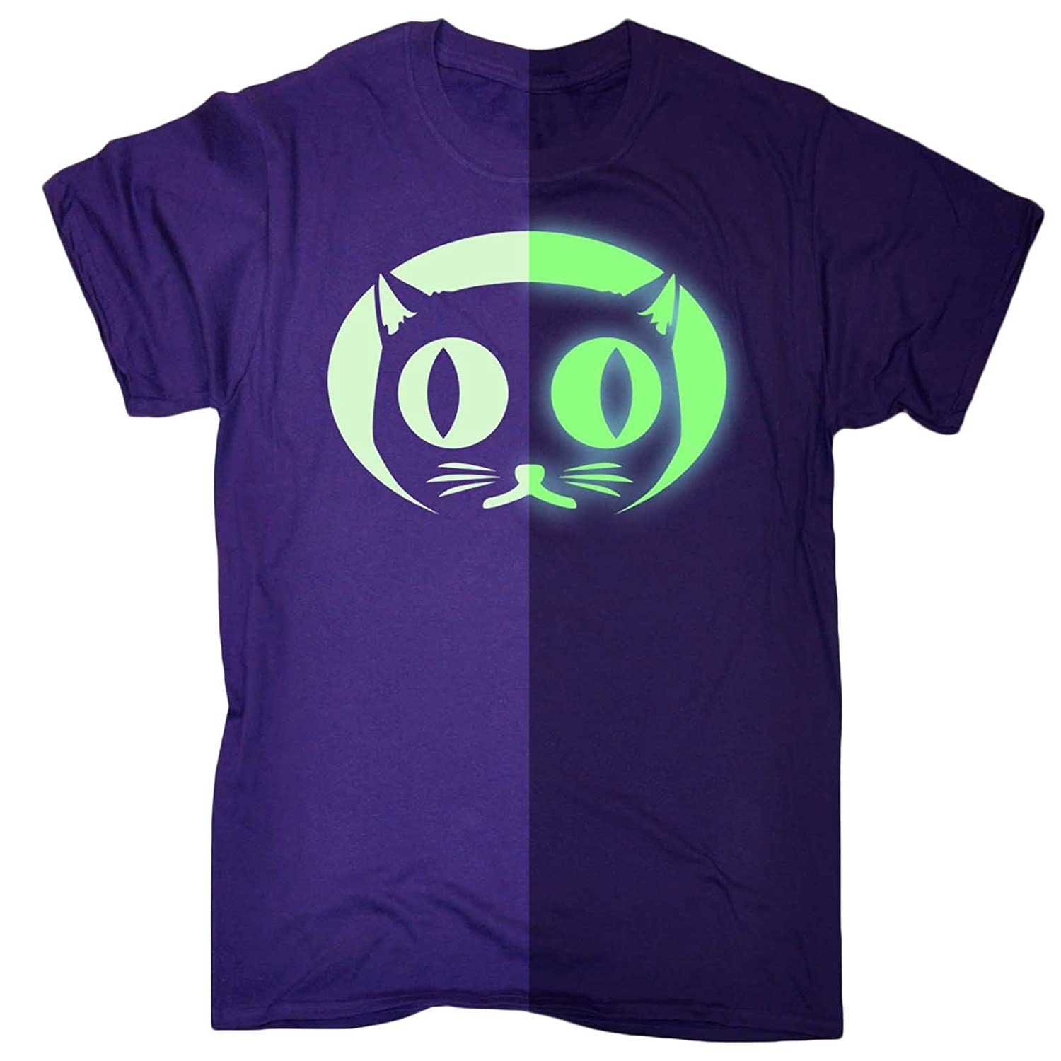 5cbd71f8 Funny Mens Glow in The Dark Cat Face T-Shirt Birthday Novelty Present  Clothing: Amazon.co.uk: Clothing