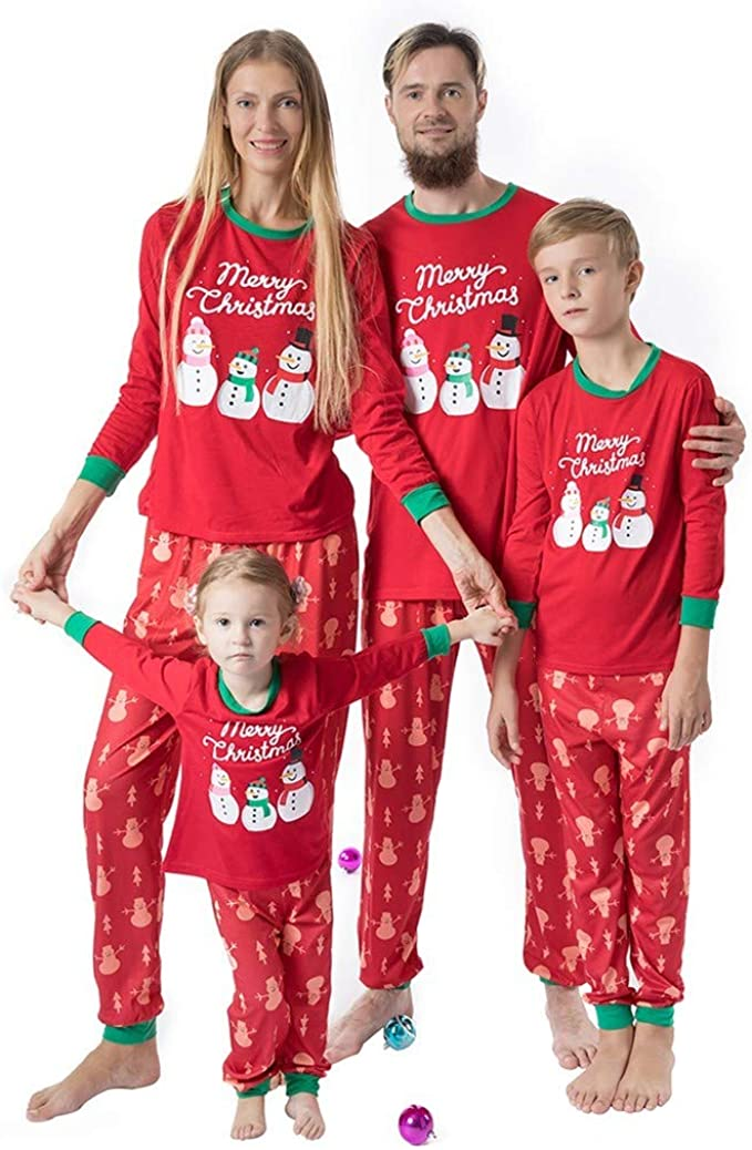 Family Matching Pajamas Sets Christmas Pajamas Outfit Cartoon Hat Print Holiday Clothes PJ Sets Mom Dad Kids Sleepwear