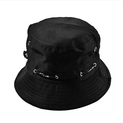 51ca6bc31fa58 Srogem Accessories Fashionable Unisex Men Womens Reversible Flat Bucket Hat  Fisherman Outdoor Cap (Black)