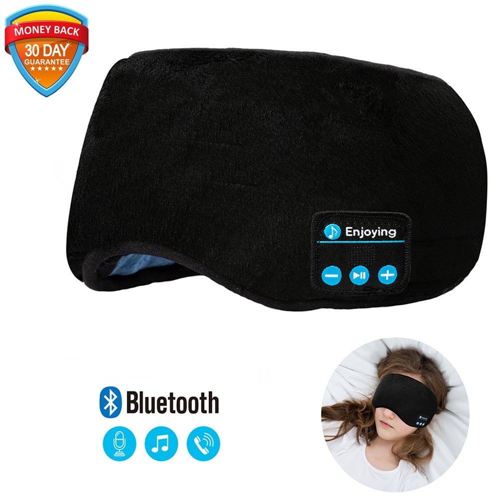 Bluetooth Sleeping Eye Mask | Sleep Headphones, Joseche Wireless Bluetooth Headphones Music Travel Sleeping Headset 4.2 Bluetooth Handsfree Sleep Eye Shades Built-in Speakers Microphone Washable