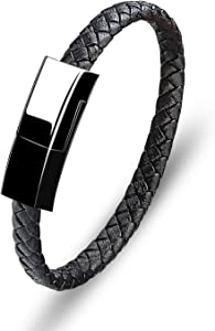 Portable Charging Bracelets for iPhone Leather Charge Braided Cord Fashion USB Braided Wristband Data Charger Cable (Black)