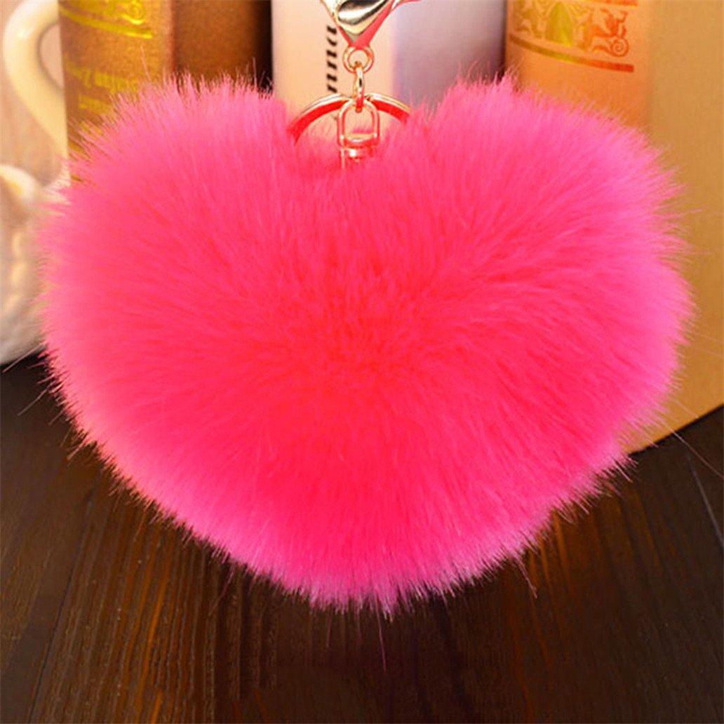 Amazon.com  Acamifashion Big Heart Shaped Soft Pom Pom Ball Keychain  Handbag Key Ring Women Gift - Red  Beauty db1dfc536b