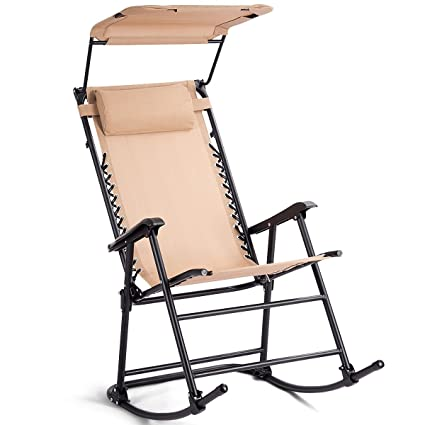 Beige Foldable Rocking Chair Fabric Seat Ergonomic Design Capacity 250 Lbs  W/Sunshade Canopy