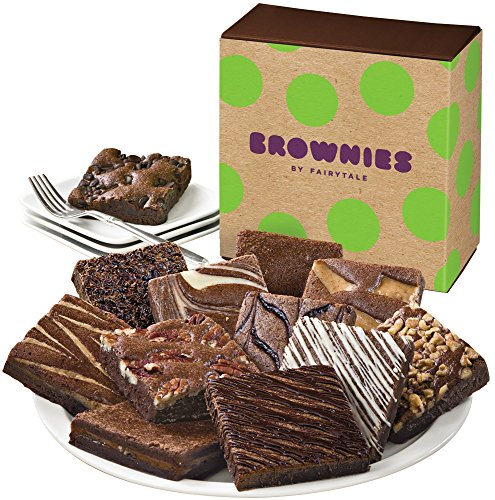 Fairytale Brownies Brownie Dozen Gourmet Food Gift Basket Chocolate Box - 3 Inch Square Full-Size Brownies - 12 Pieces