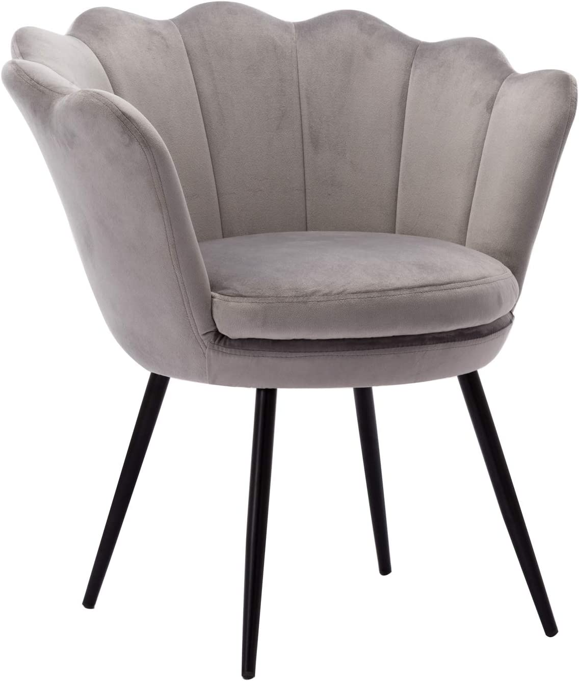 Comfy Desk Chair no Wheels, Velvet Upholstered Accent Chair, Vanity Chair for Living Room, Bedroom, Dining Room, Grey