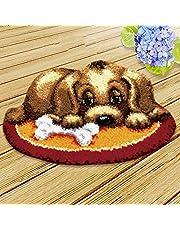 DIY Crochet Yarn Kits,Needlework Latch Hook Kit Unfinished Crocheting Rug Yarn Cushion Embroidery Carpet Set 20 x 14 (Dog)