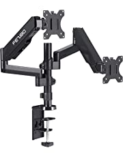 """Dual Arm Monitor Stand - FEZIBO Adjustable Full Motion Monitor Mount Monitor Arm, Standing Desk Converter, C Clamp/Grommet Mount for 2 Screens from 17"""" to 32"""" Gas Spring LCD Computer Screens"""