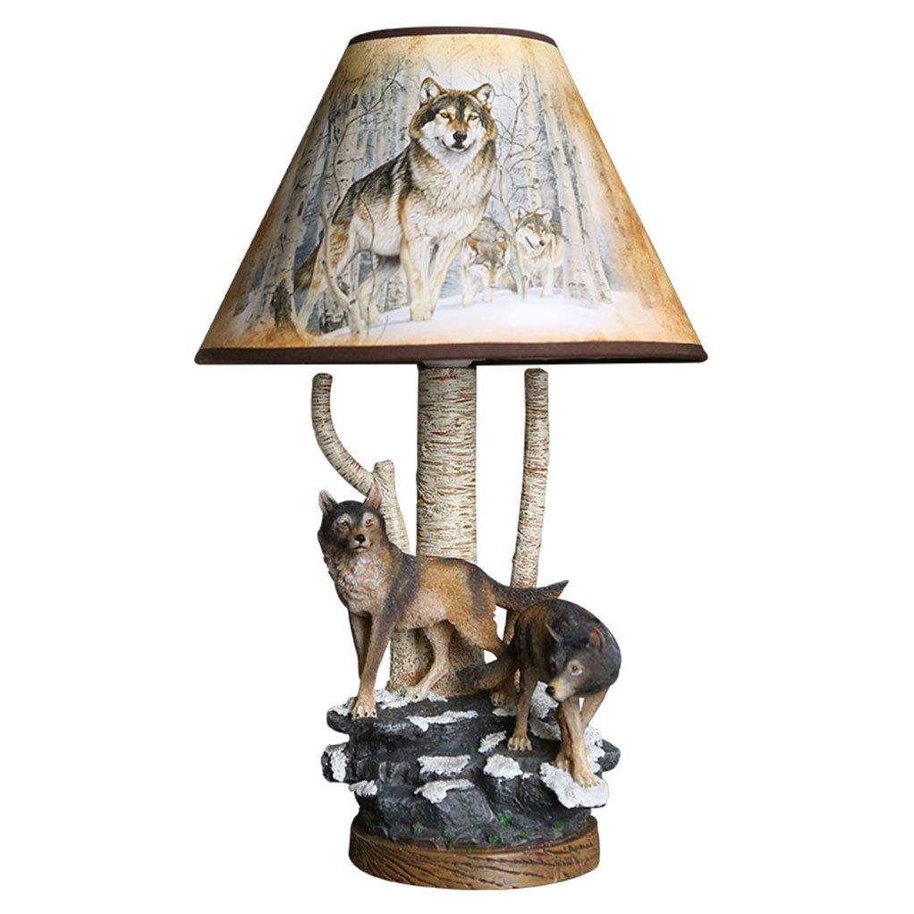 GYDD Tischlampe Tier Dekorative Harz Wald Wolf Kunst Einstellbare Einstellbare Einstellbare Licht Kreative Handgemachte Beleuchtung für Wohnzimmer Studie   Schlafzimmer Nachttischlampe (Farbe   Dimm-Schalter) da990f