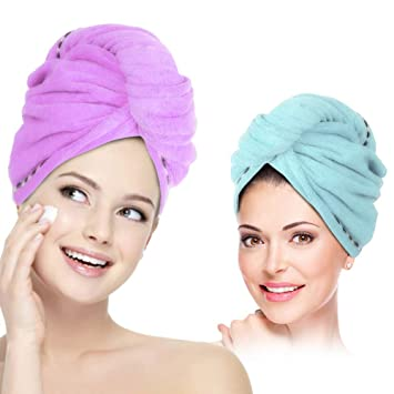Turbie Twist Hair Towels 2 Pack Quick Drying Microfiber Towel Wrapped USA Ship