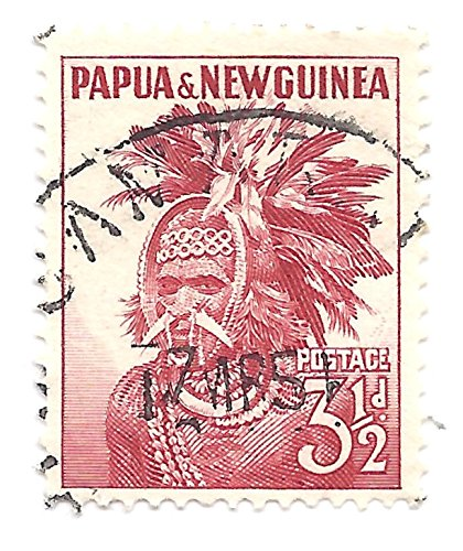Papua New Guinea 1952 Postage Stamp 3 1/2d Red Native Chief Warrior