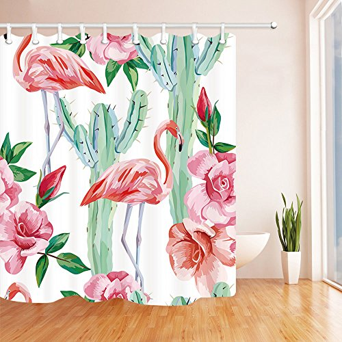 NYMB Valentines Day Shower Curtain, Watercolor Flamingo Couple Fall Love in Cactus Roses Flowers, Mildew Resistant Polyester Fabric Bath Curtain, Bathroom Shower Curtains With Hooks, 69X70in