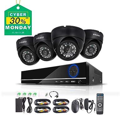 FREDI 4CH Sistema de Cámara de Seguridad Full 960H DVR con 4 x 800TVL Visión nocturna