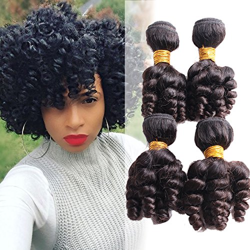 Funmi Hair 4 Bundles Natural Omber Black Unprocessed Human Remy Hair Short Curly Weave Brazilian Virgin Hair Extensions 200g/lot (10 10 10 10, Funmi)