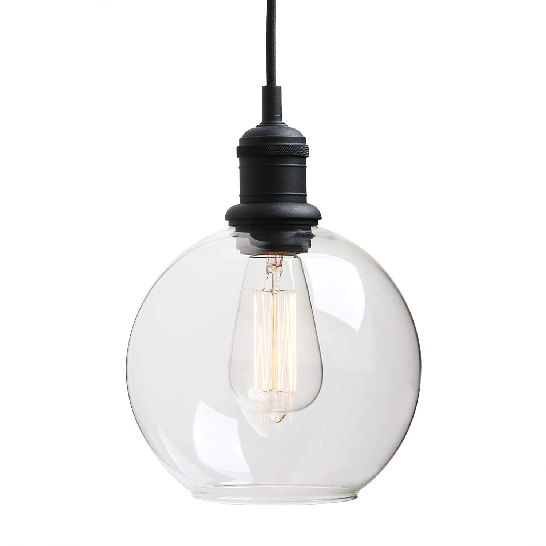 Yosoan Industrial Hanging Lighting Globe Round Glass Shade Organic Contemporary Style for Kitchens Bathroom Living Room Dinning Room Porch Hallway Bar Hotel Vintage Handblown Pendant Light Black