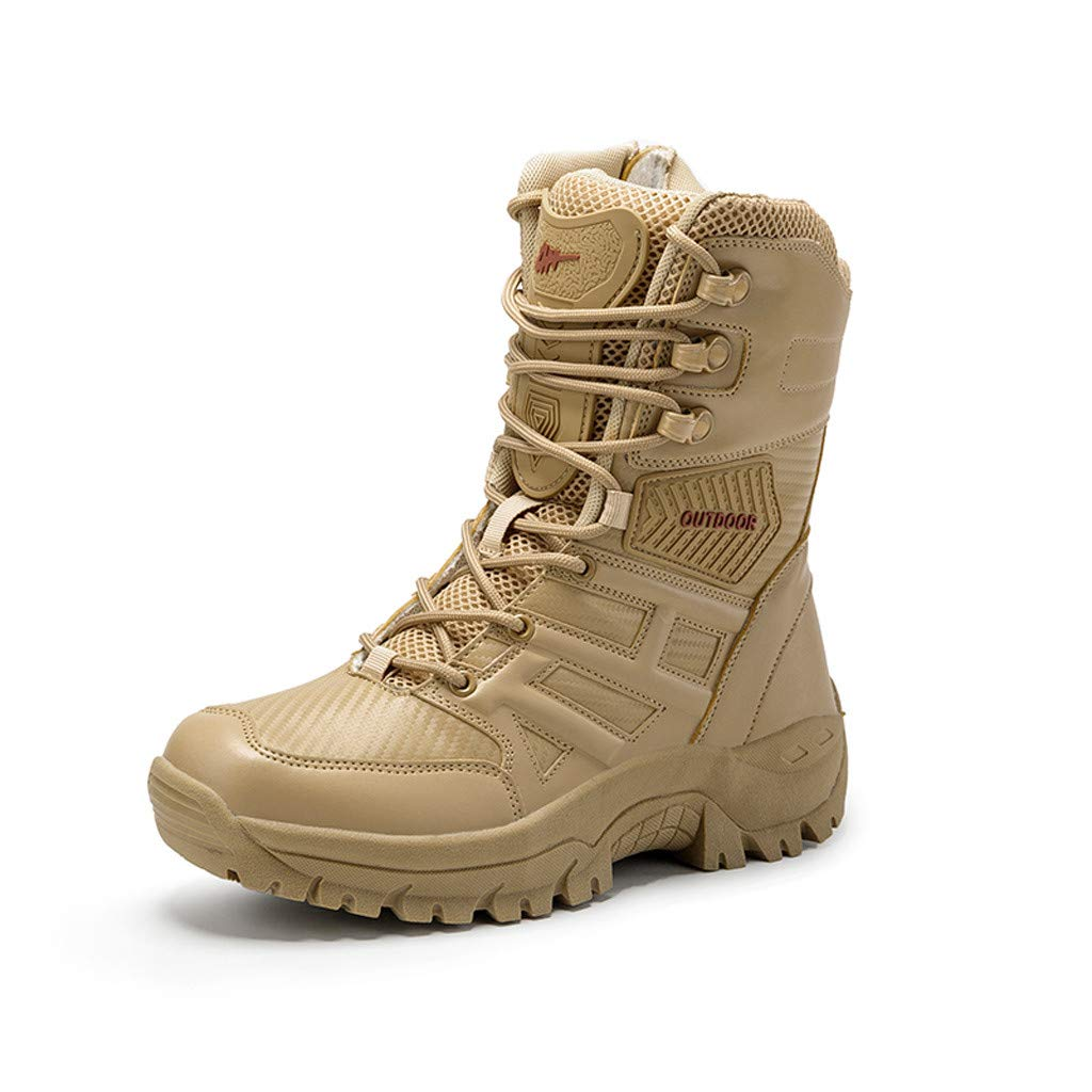 Beige, 40 Sport Army Tactical Boots Desert Outdoor Hiking Leather Boots Jinjin Men Combat Shoes