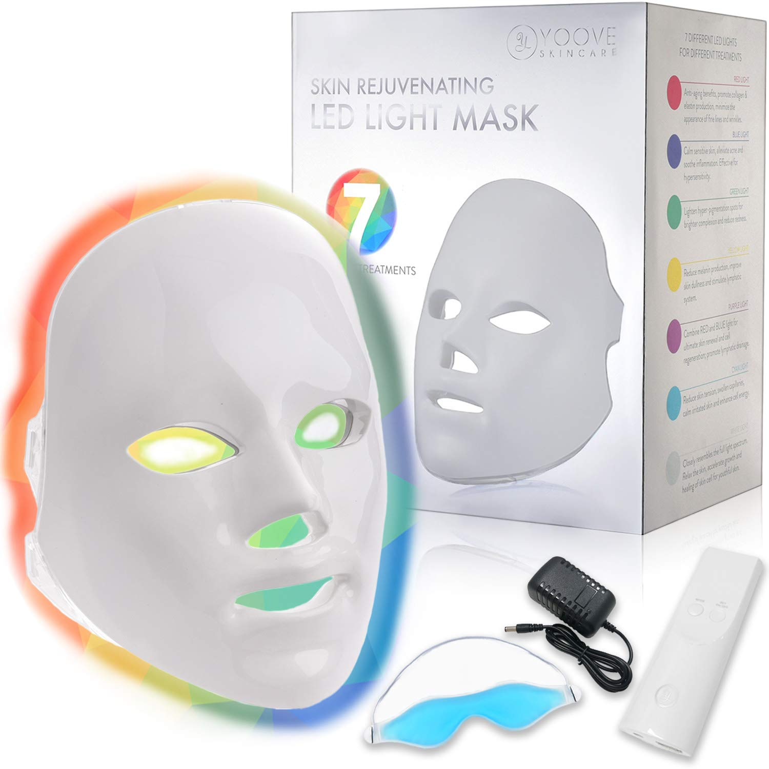 YOOVE LED Face Mask - 7 Colors Including Red Light Therapy For Healthy Skin Rejuvenation
