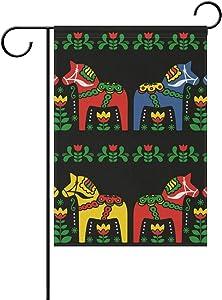 "Garden Flag Yard Decor, Swedish Dala Horse Folk Garden Flag Stand For Patio Lawn Garden Indoor & Outdoor Use 28""x40"""