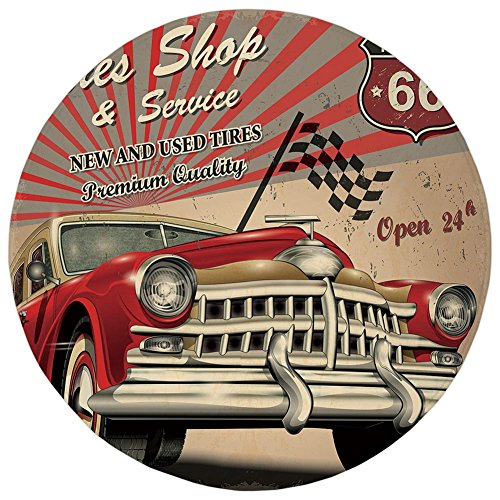 Round Rug Mat Carpet,Cars,Tires Shop and Service Route 66 Emblem Advertisement Retro Style Poster Print,Red Grey Sepia,Flannel Microfiber Non-slip Soft Absorbent,for Kitchen Floor Bathroom (Style Emblem Accent)