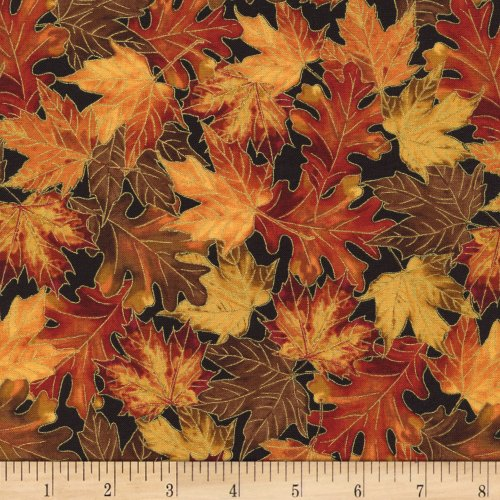 - Timeless Treasures Gather Together Metallic Harvest Leaves Fabric by The Yard, Black